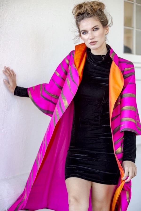 DC Swim Week | Cashmere & Pearls | Model | Jacket | Pink-Orange