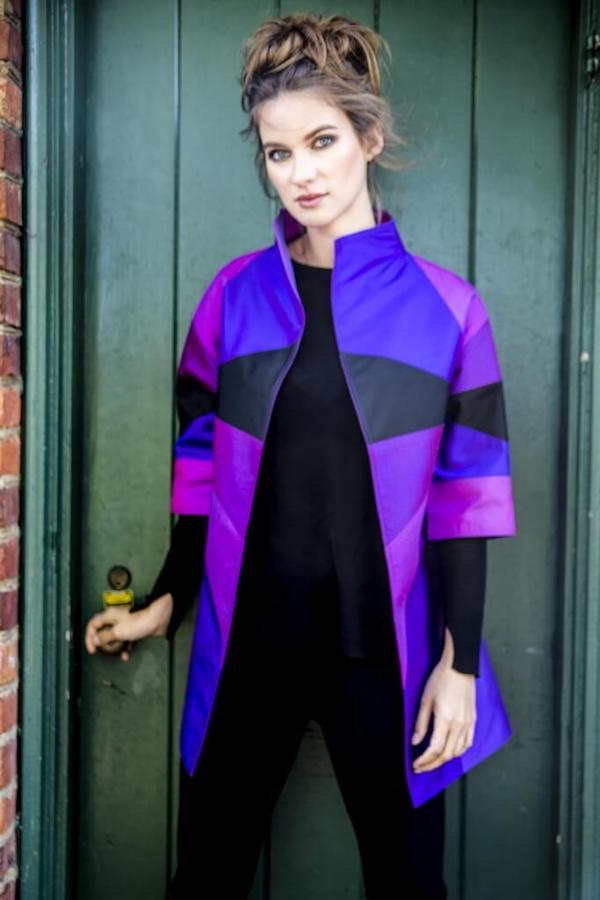 DC Swim Week | Cashmere & Pearls | Model | Jacket | Purple-Geometric