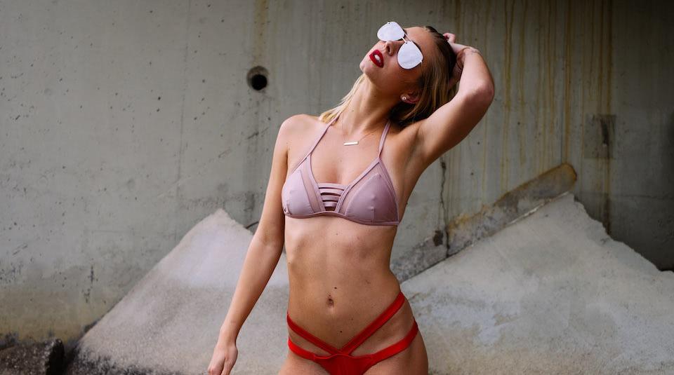 DC Swim Week | EG Lux | Model | Two-Piece | Top Peach | Bottom Red