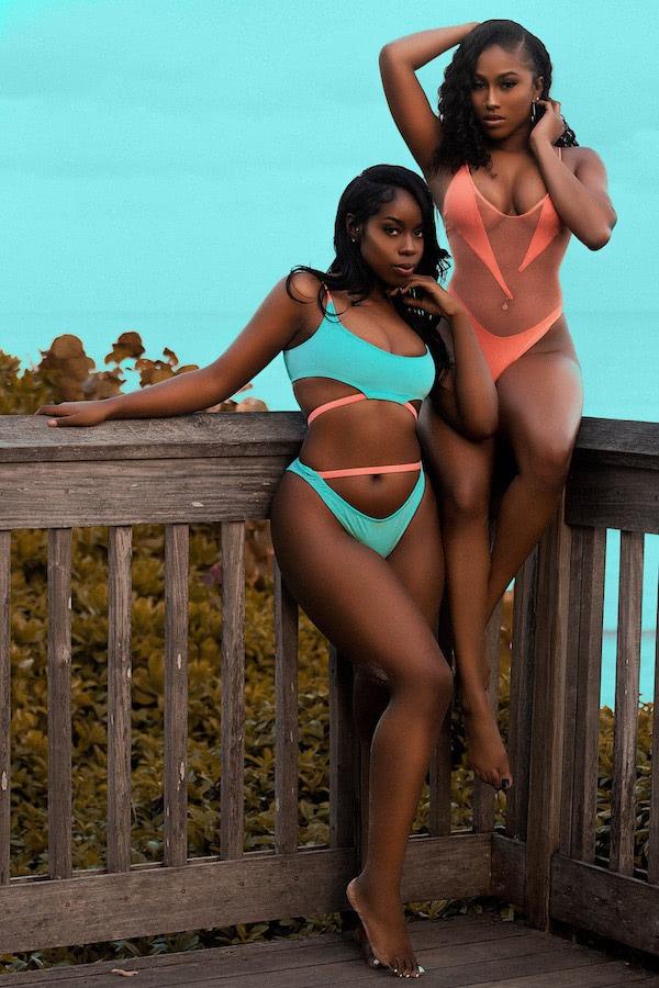 DC Swim Week | Koko D. Swimwear | Two Models | Two-Piece | Neon-Blue | One-Piece | Neon-Red