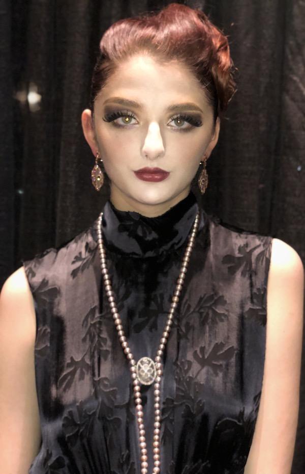 DC Swim Week | Ri Noor | Model | Necklace Pearls | Earrings Leaf